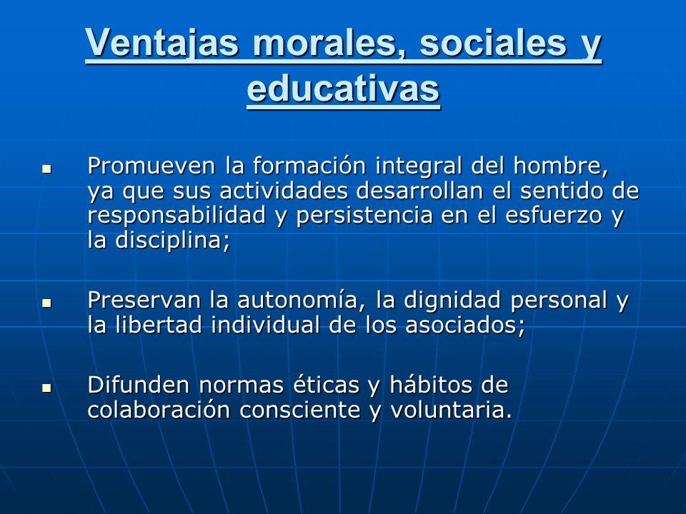 Ventajas morales, sociales y educativas