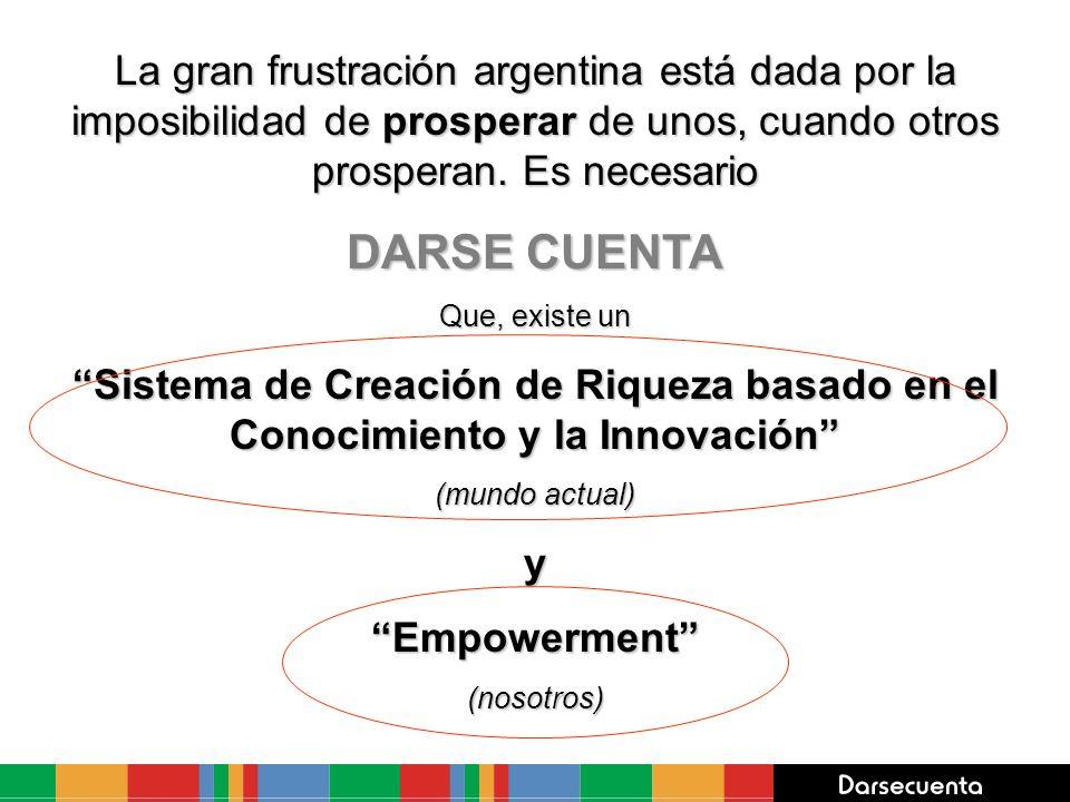 La gran frustración argentina está dada por la imposibilidad de prosperar de unos, cuando otros prosperan. Es necesario