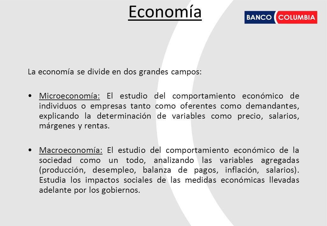 Economía La economía se divide en dos grandes campos: