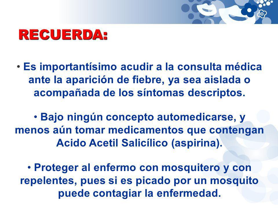 RECUERDA: Es importantísimo acudir a la consulta médica ante la aparición de fiebre, ya sea aislada o acompañada de los síntomas descriptos.