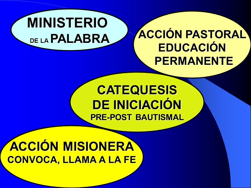 MINISTERIO CATEQUESIS DE INICIACIÓN ACCIÓN MISIONERA ACCIÓN PASTORAL