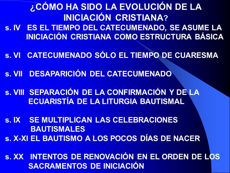¿CÓMO HA SIDO LA EVOLUCIÓN DE LA INICIACIÓN CRISTIANA