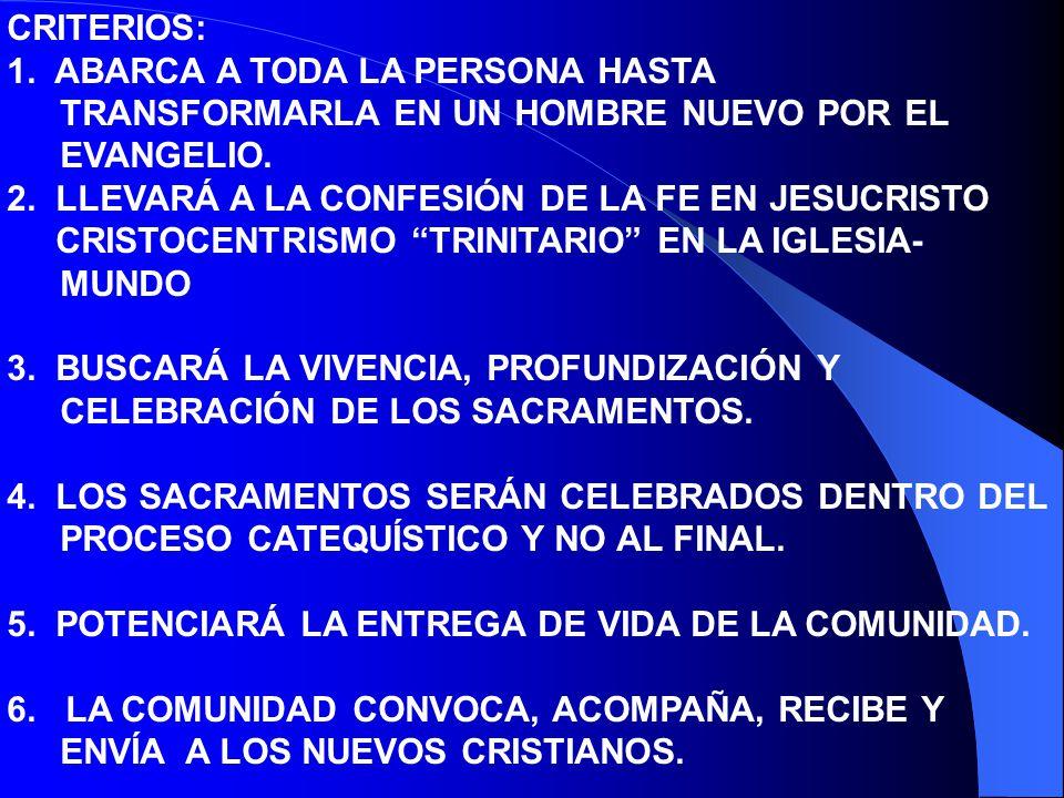 CRITERIOS: 1. ABARCA A TODA LA PERSONA HASTA TRANSFORMARLA EN UN HOMBRE NUEVO POR EL EVANGELIO. 2. LLEVARÁ A LA CONFESIÓN DE LA FE EN JESUCRISTO.