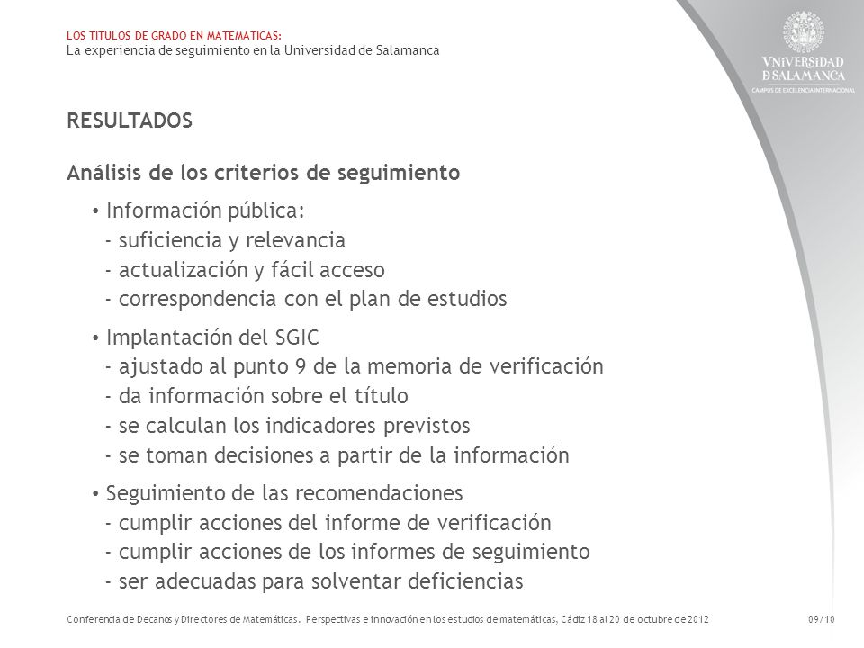 Análisis de los criterios de seguimiento Información pública: