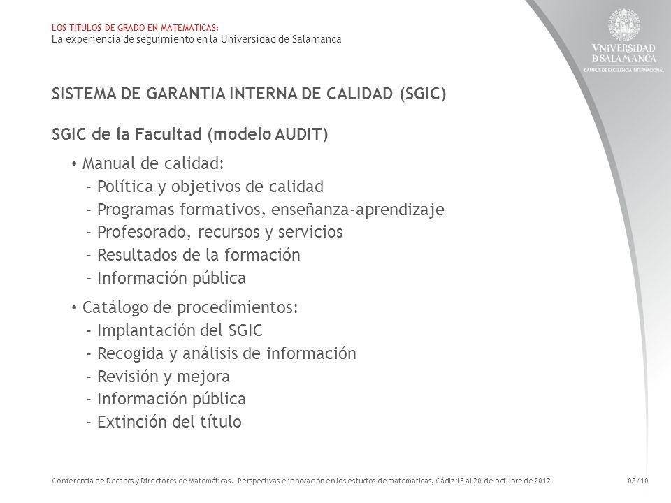 SISTEMA DE GARANTIA INTERNA DE CALIDAD (SGIC)