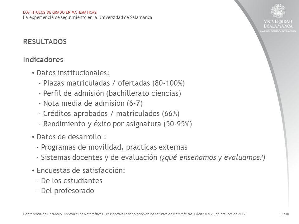Datos institucionales: - Plazas matriculadas / ofertadas (80-100%)