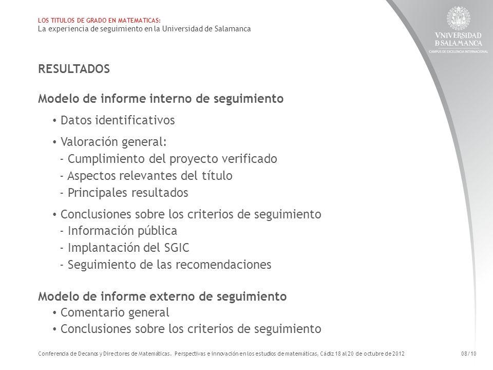 Modelo de informe interno de seguimiento Datos identificativos
