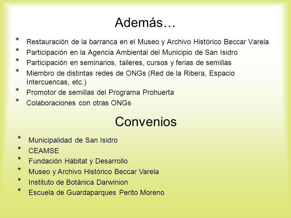 Además… Restauración de la barranca en el Museo y Archivo Histórico Beccar Varela. Participación en la Agencia Ambiental del Municipio de San Isidro.