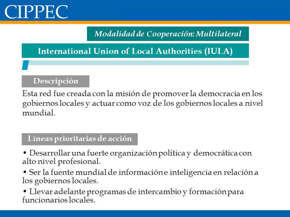 Modalidad de Cooperación: Multilateral