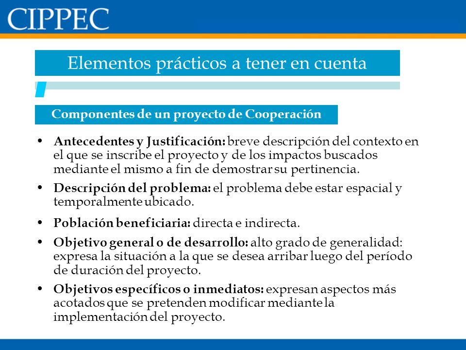 Componentes de un proyecto de Cooperación