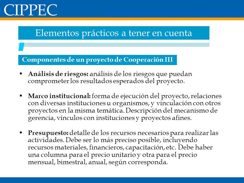 Componentes de un proyecto de Cooperación III