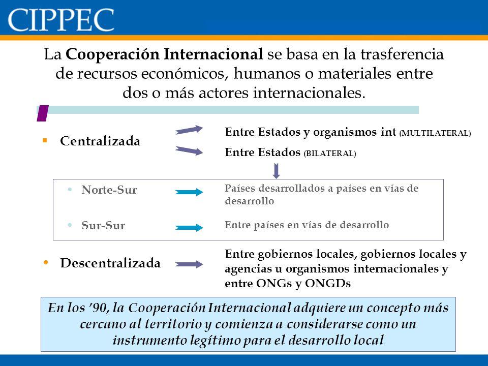 La Cooperación Internacional se basa en la trasferencia de recursos económicos, humanos o materiales entre dos o más actores internacionales.