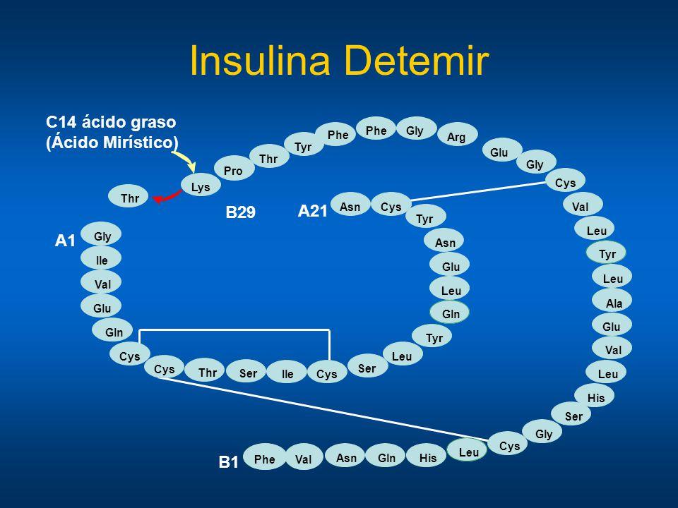 Insulina Detemir C14 ácido graso (Ácido Mirístico) B29 A21 A1 B1 Phe