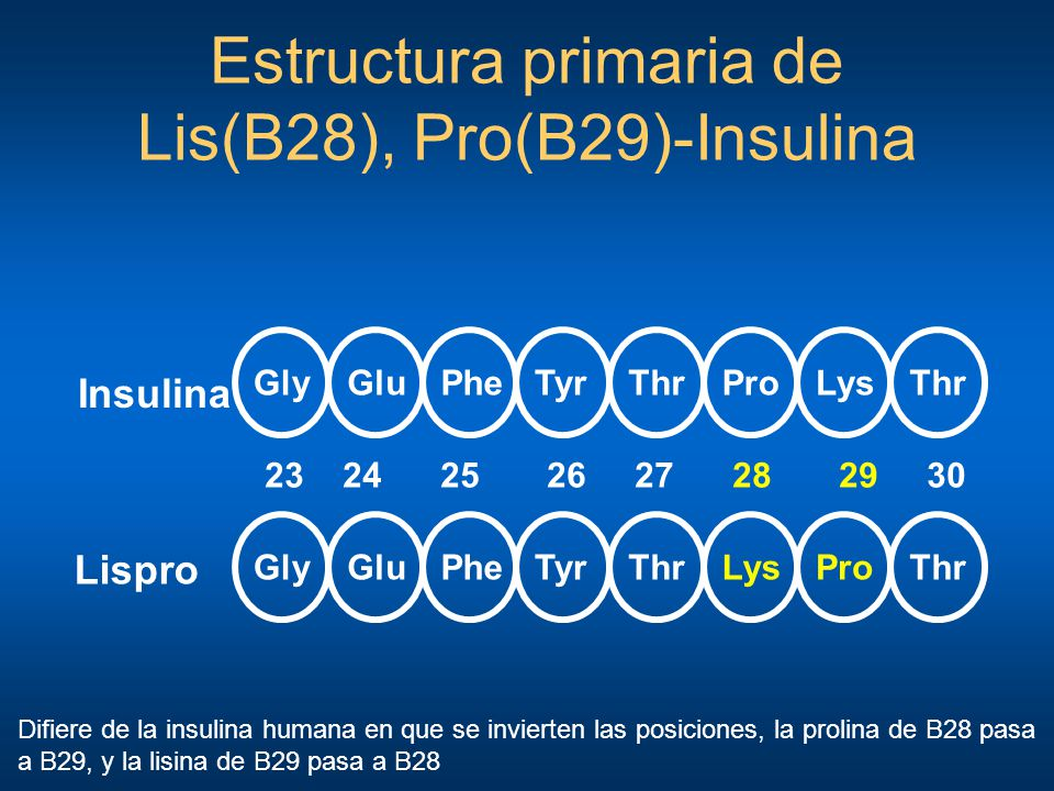 Estructura primaria de Lis(B28), Pro(B29)-Insulina