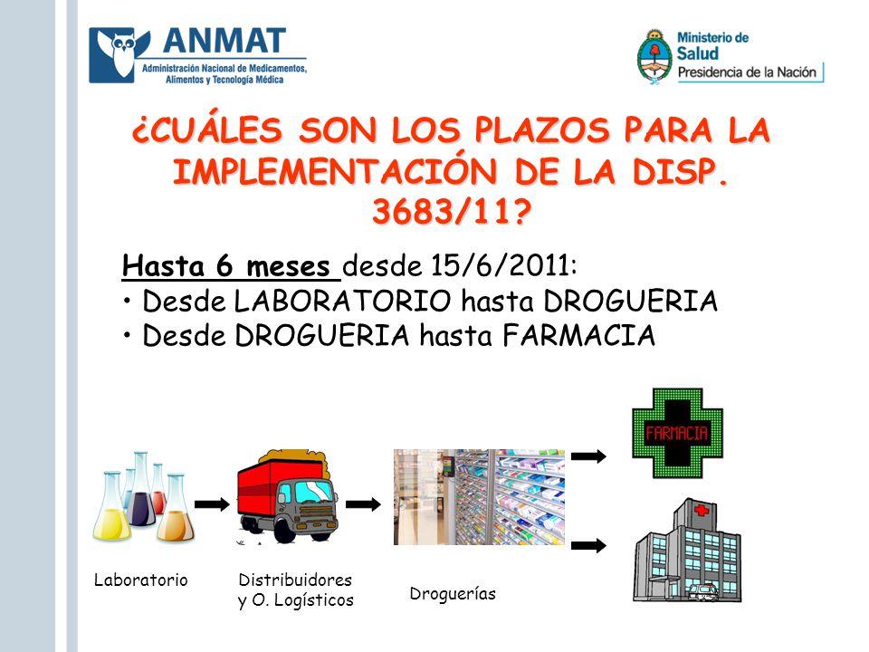 ¿CUÁLES SON LOS PLAZOS PARA LA IMPLEMENTACIÓN DE LA DISP. 3683/11