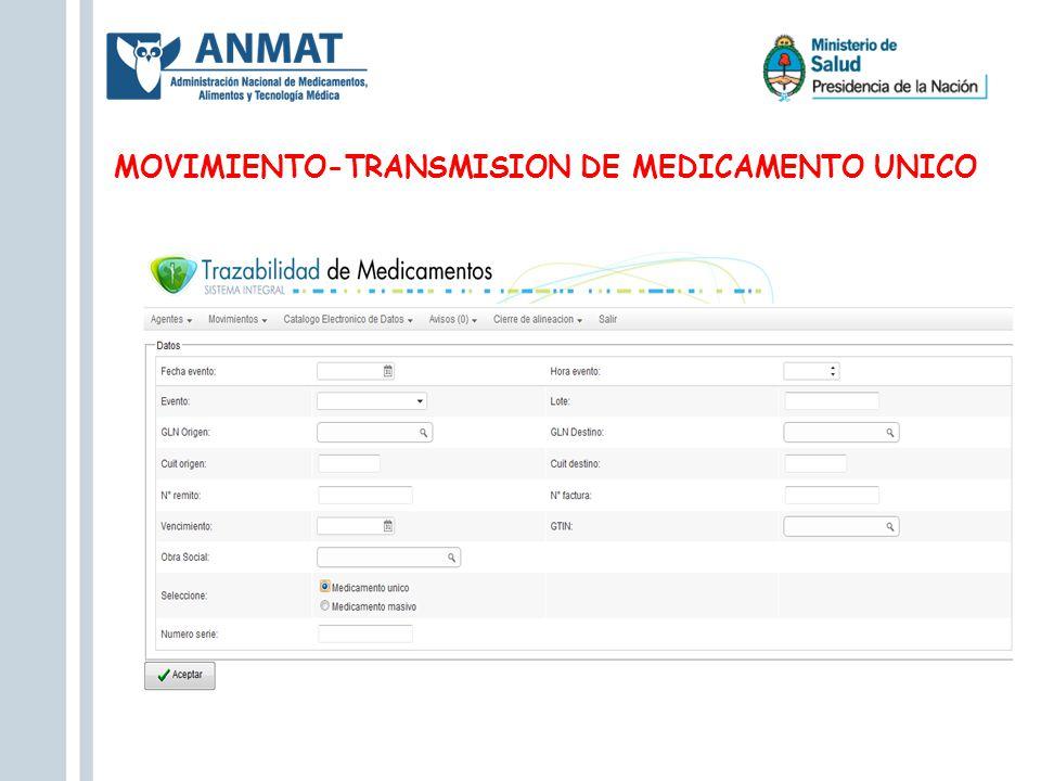 MOVIMIENTO-TRANSMISION DE MEDICAMENTO UNICO