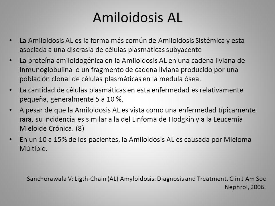 Amiloidosis AL La Amiloidosis AL es la forma más común de Amiloidosis Sistémica y esta asociada a una discrasia de células plasmáticas subyacente.