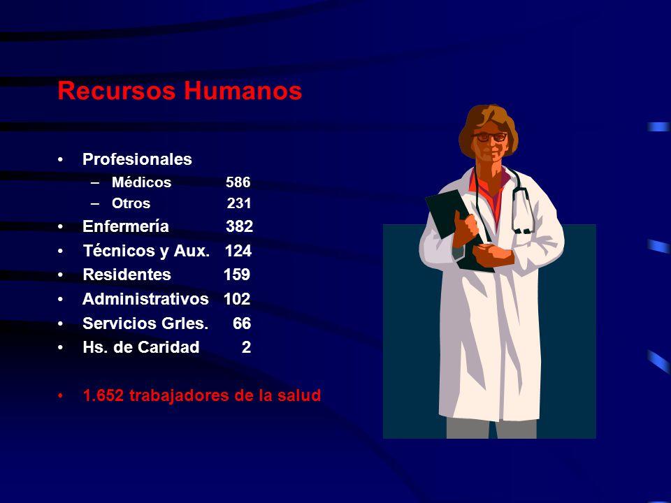 Recursos Humanos Profesionales Enfermería 382 Técnicos y Aux. 124