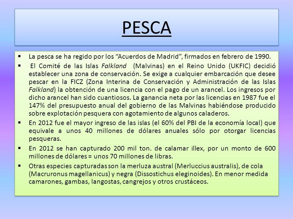 PESCA La pesca se ha regido por los Acuerdos de Madrid , firmados en febrero de 1990.