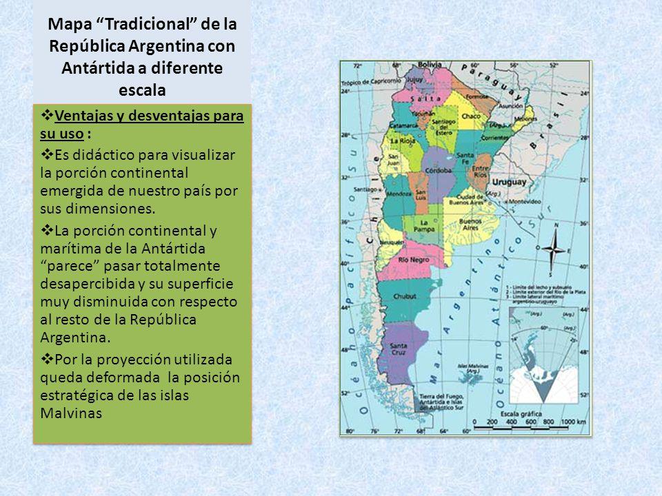 Mapa Tradicional de la República Argentina con Antártida a diferente escala