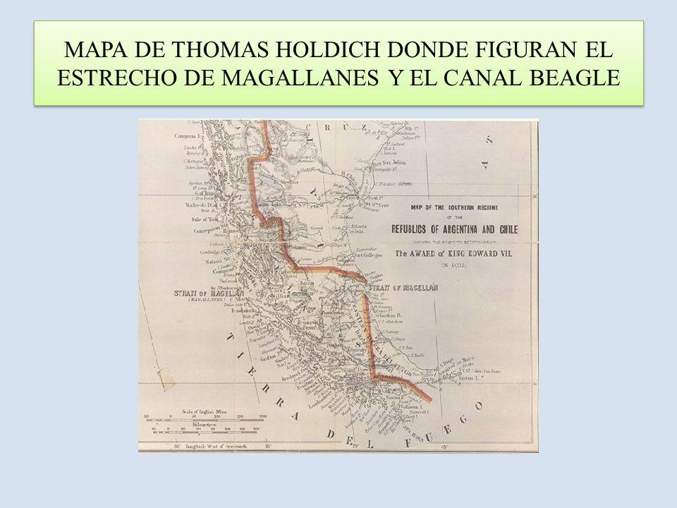 MAPA DE THOMAS HOLDICH DONDE FIGURAN EL ESTRECHO DE MAGALLANES Y EL CANAL BEAGLE