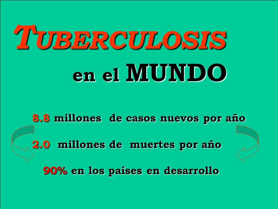 TUBERCULOSIS en el MUNDO 8.8 millones de casos nuevos por año