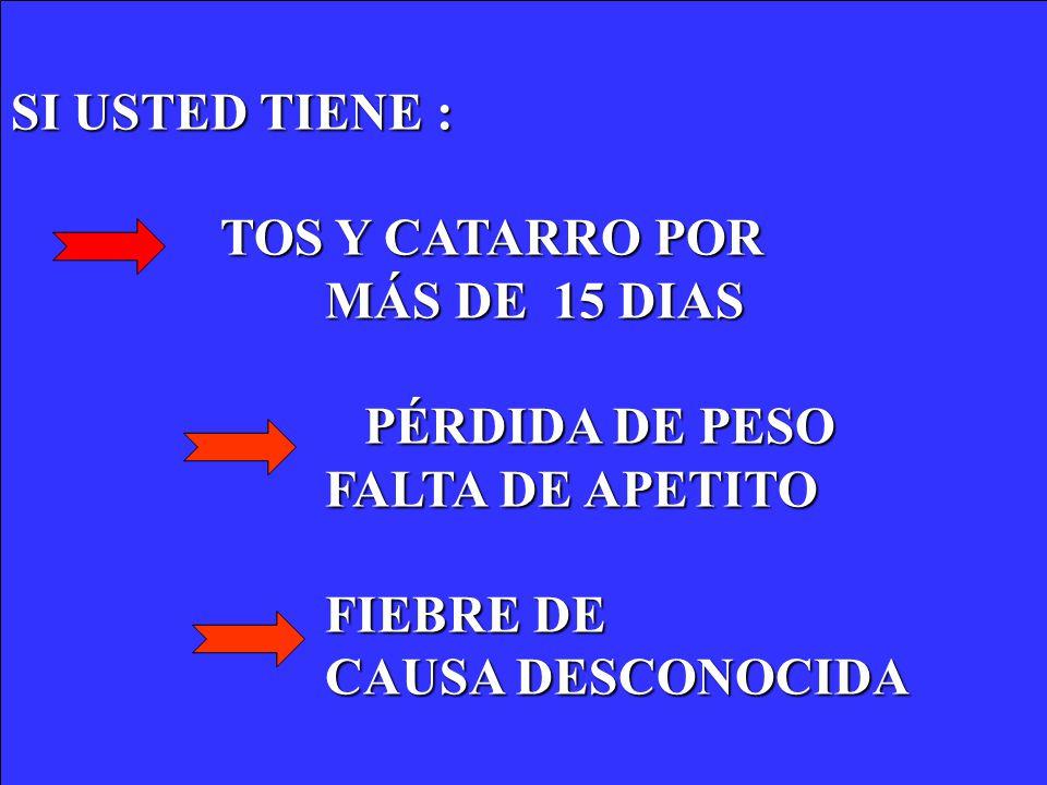SI USTED TIENE : TOS Y CATARRO POR. MÁS DE 15 DIAS. PÉRDIDA DE PESO. FALTA DE APETITO. FIEBRE DE.