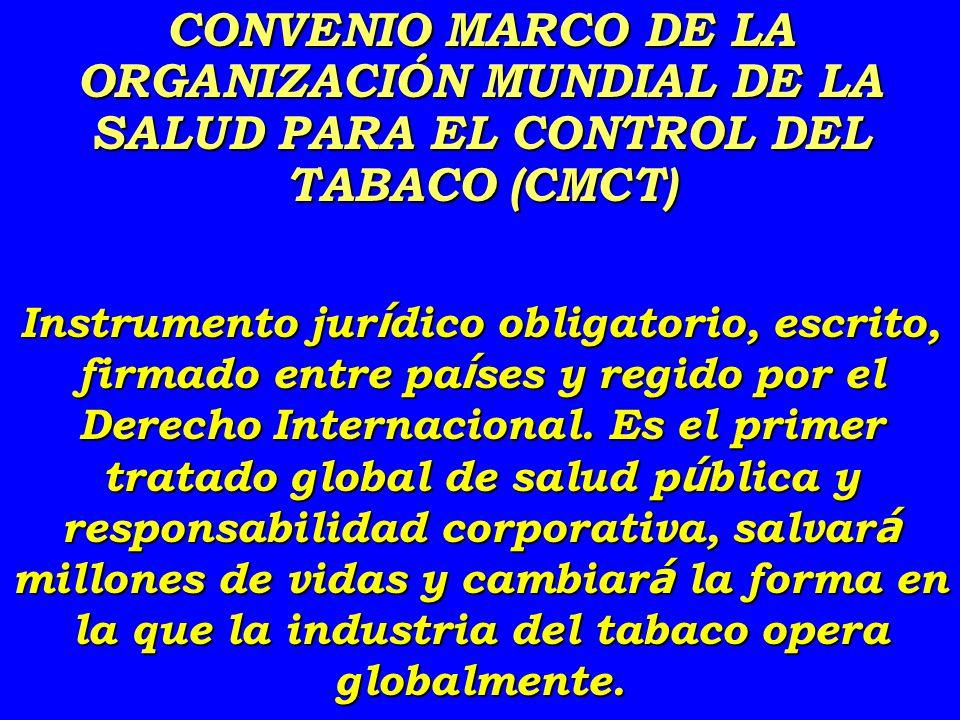 CONVENIO MARCO DE LA ORGANIZACIÓN MUNDIAL DE LA SALUD PARA EL CONTROL DEL TABACO (CMCT)