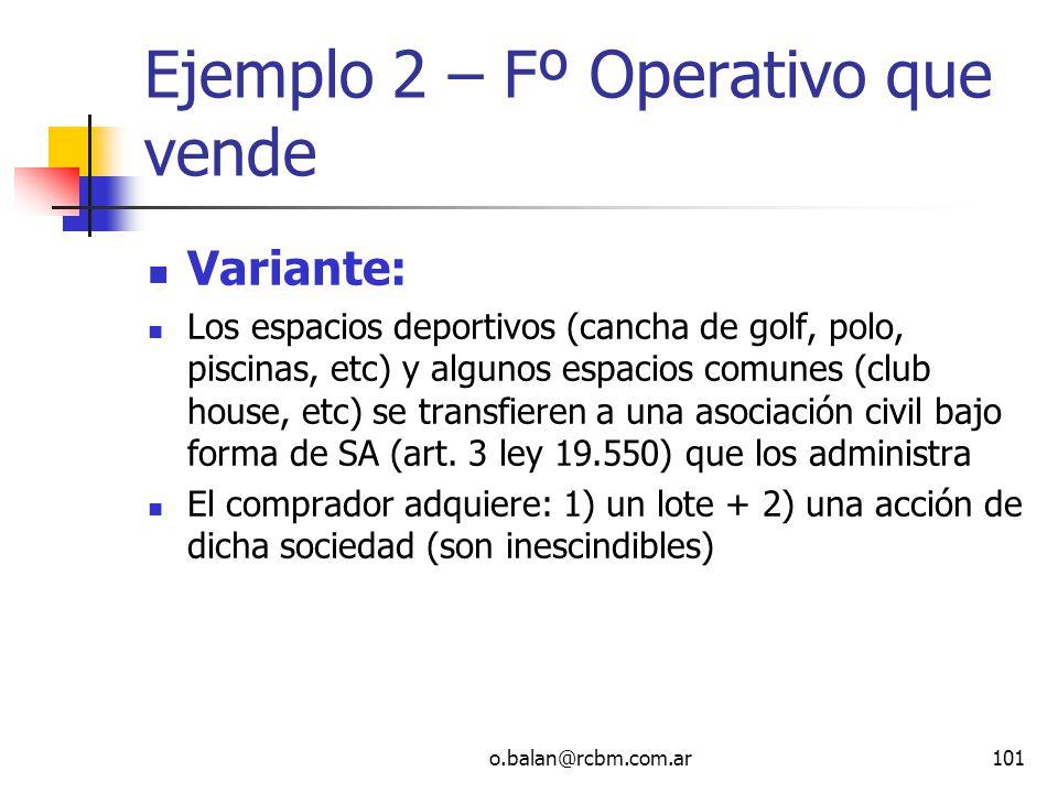 Ejemplo 2 – Fº Operativo que vende