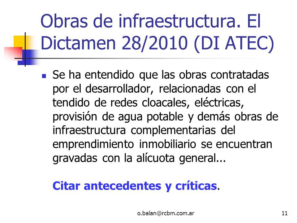 Obras de infraestructura. El Dictamen 28/2010 (DI ATEC)