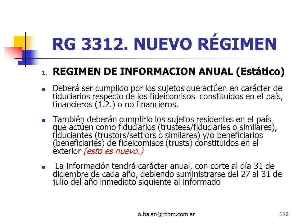 RG 3312. NUEVO RÉGIMEN REGIMEN DE INFORMACION ANUAL (Estático)