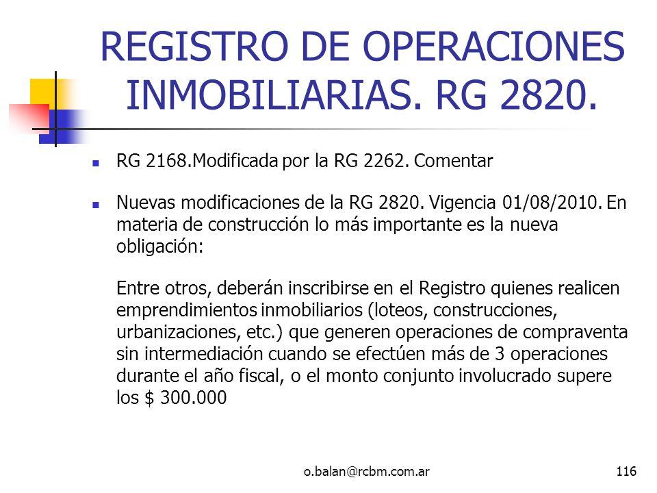 REGISTRO DE OPERACIONES INMOBILIARIAS. RG 2820.