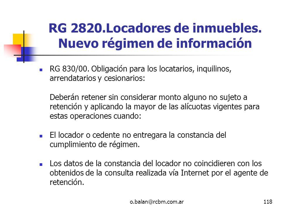 RG 2820.Locadores de inmuebles. Nuevo régimen de información