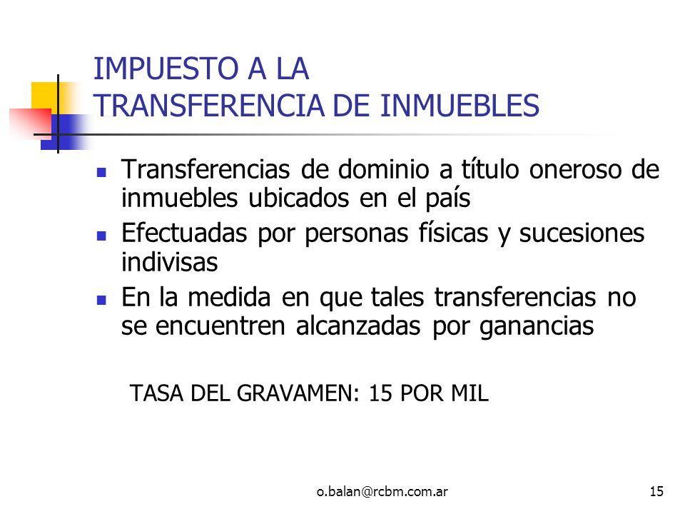 IMPUESTO A LA TRANSFERENCIA DE INMUEBLES