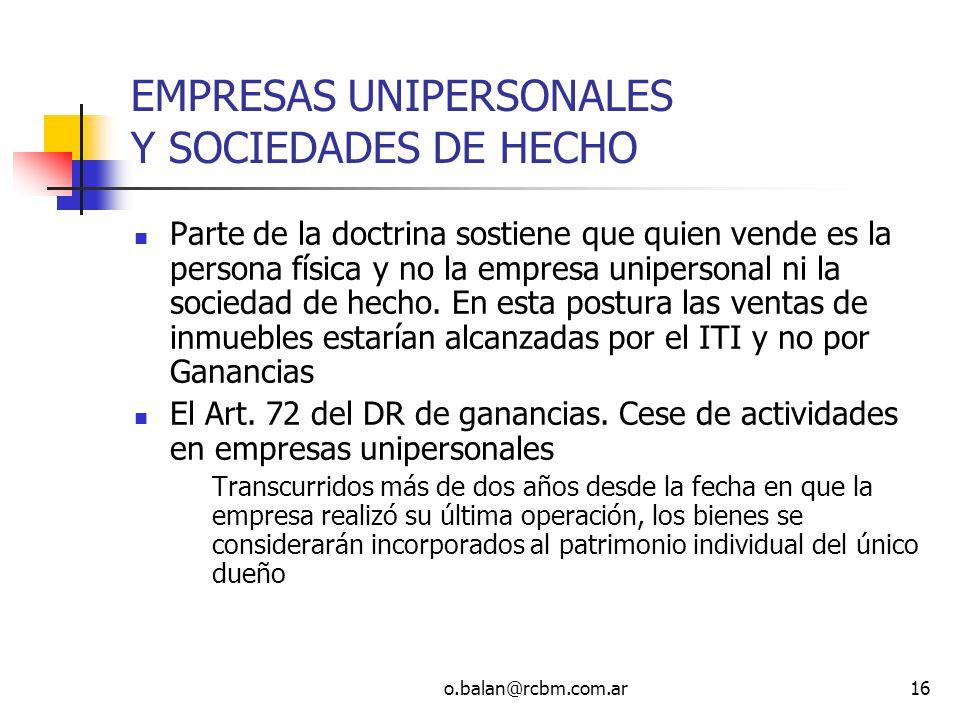 EMPRESAS UNIPERSONALES Y SOCIEDADES DE HECHO