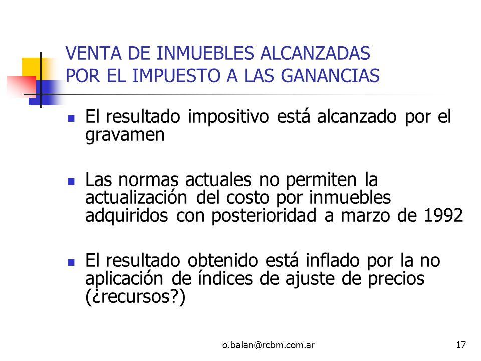 VENTA DE INMUEBLES ALCANZADAS POR EL IMPUESTO A LAS GANANCIAS