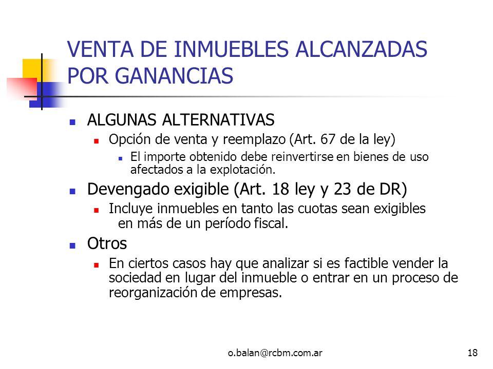 VENTA DE INMUEBLES ALCANZADAS POR GANANCIAS
