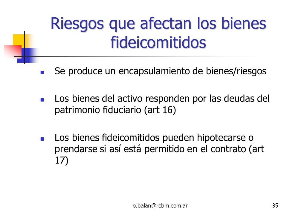Riesgos que afectan los bienes fideicomitidos