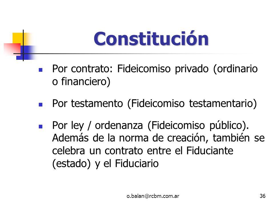 Constitución Por contrato: Fideicomiso privado (ordinario o financiero) Por testamento (Fideicomiso testamentario)