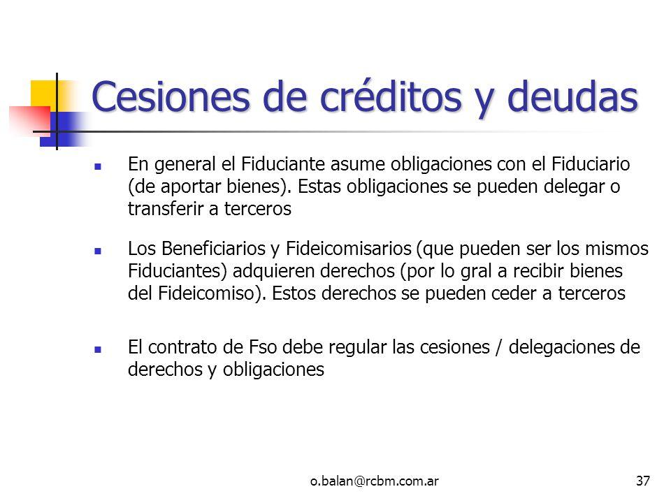 Cesiones de créditos y deudas