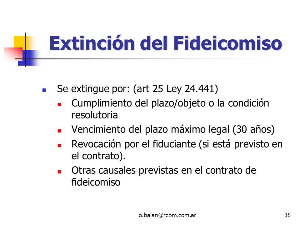 Extinción del Fideicomiso
