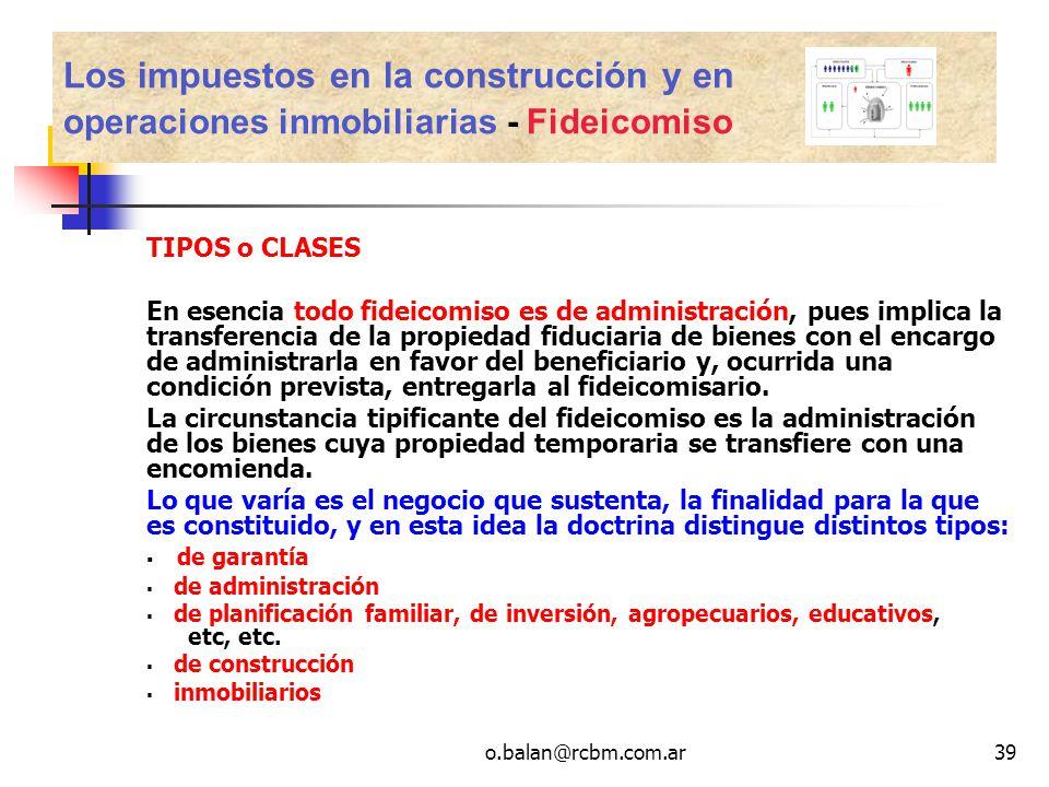 Los impuestos en la construcción y en operaciones inmobiliarias - Fideicomiso