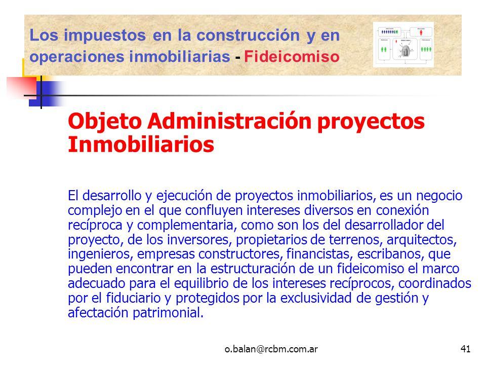 Objeto Administración proyectos Inmobiliarios