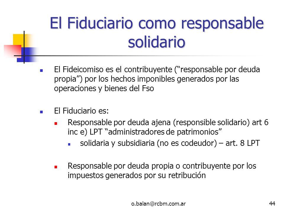 El Fiduciario como responsable solidario