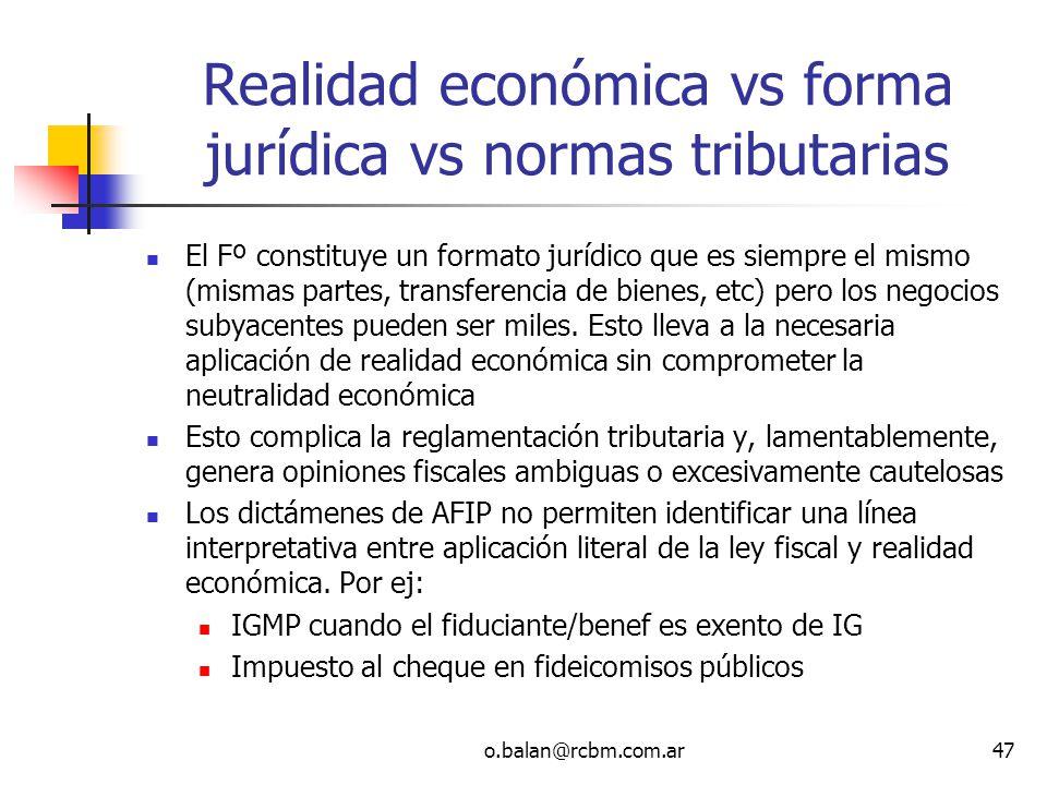 Realidad económica vs forma jurídica vs normas tributarias