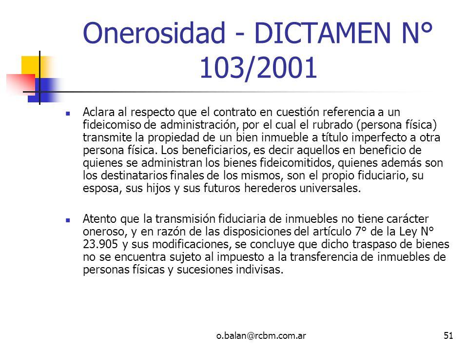 Onerosidad - DICTAMEN N° 103/2001