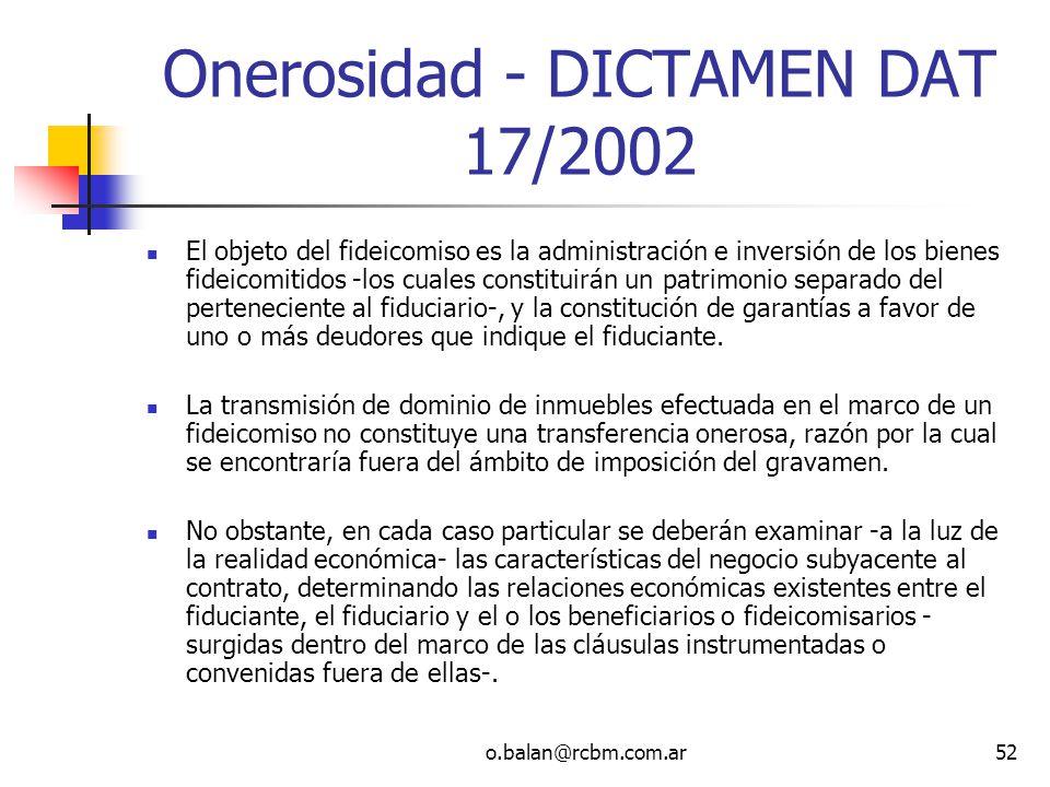 Onerosidad - DICTAMEN DAT 17/2002