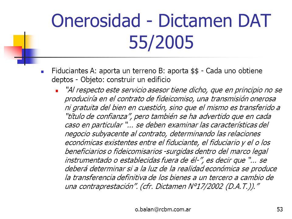 Onerosidad - Dictamen DAT 55/2005