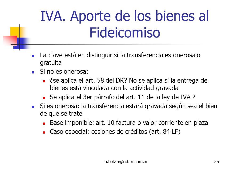 IVA. Aporte de los bienes al Fideicomiso