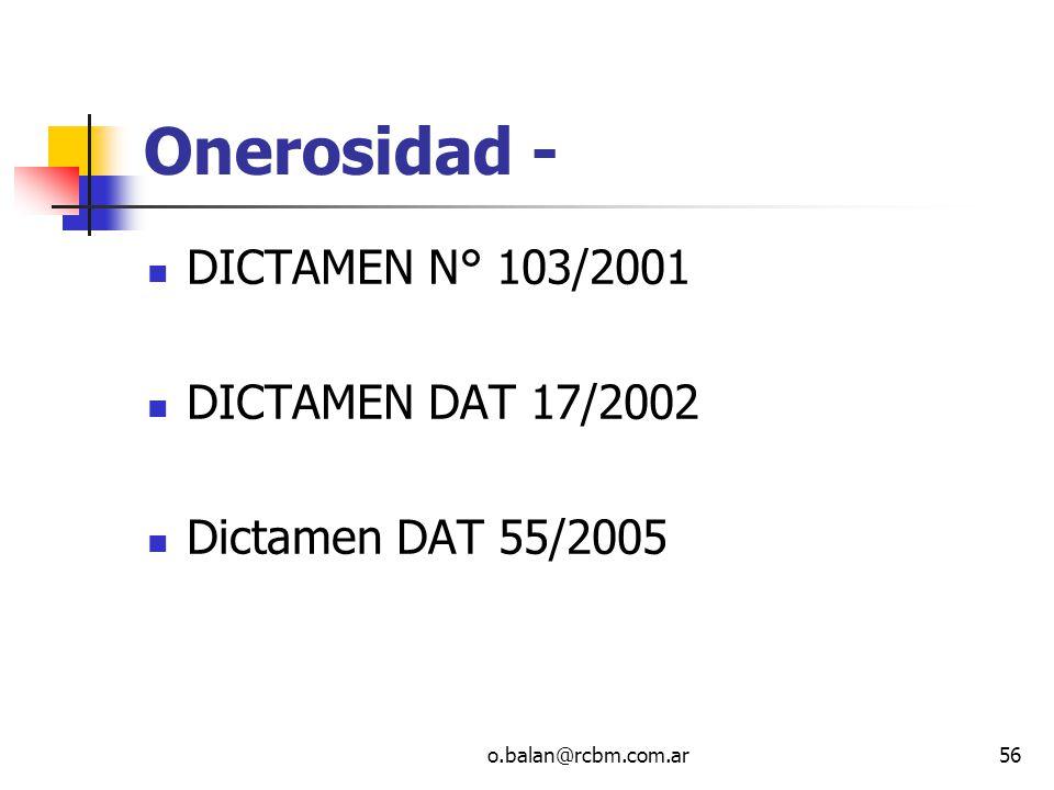 Onerosidad - DICTAMEN N° 103/2001 DICTAMEN DAT 17/2002